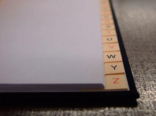 Register für Protokolle - Buchbinderei Papierhandwerk
