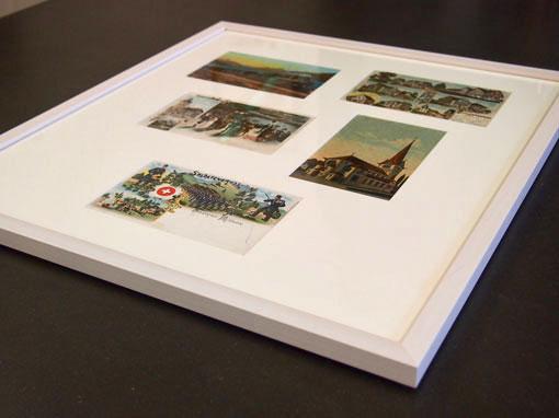 Alte Postkarten gerahmt mit Passepartoutausschnitten - Einrahmungen Papierhandwerk